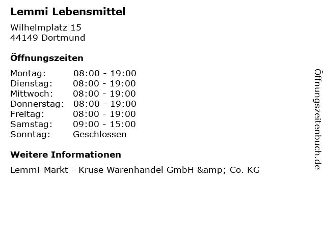 Lemmi Lebensmittel in Dortmund: Adresse und Öffnungszeiten