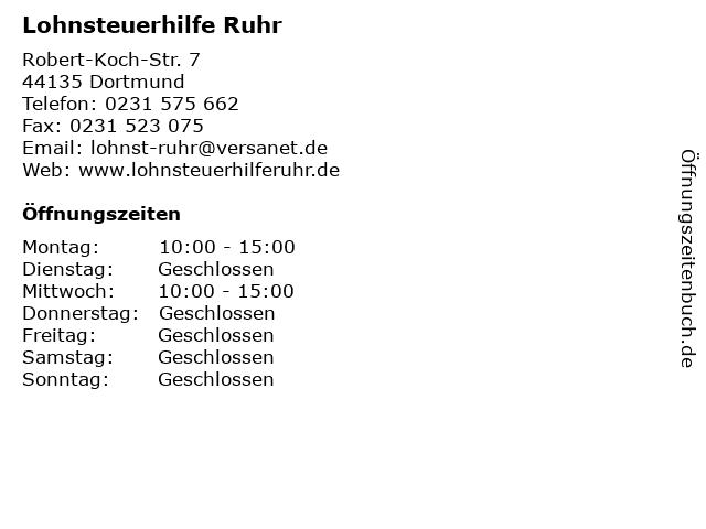 Lohnsteuerhilfe Ruhr in Dortmund: Adresse und Öffnungszeiten