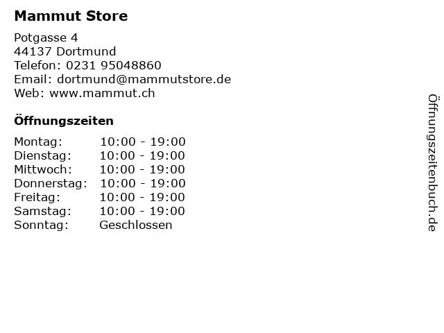 Mammut Store in Dortmund: Adresse und Öffnungszeiten