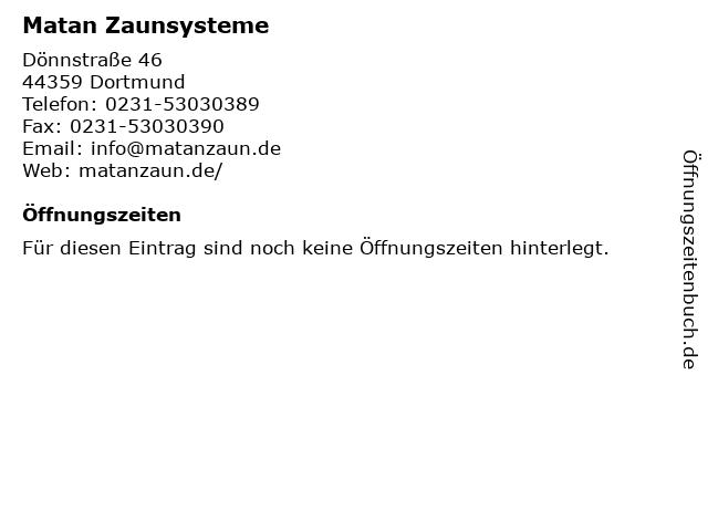 Matan Zaunsysteme in Dortmund: Adresse und Öffnungszeiten