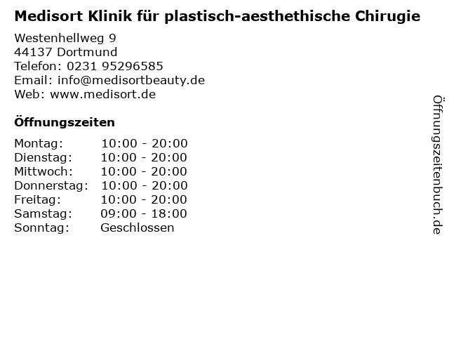Medisort Klinik für plastisch-aesthethische Chirugie in Dortmund: Adresse und Öffnungszeiten