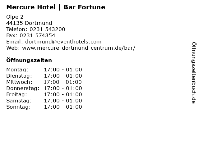 Mercure Hotel | Bar Fortune in Dortmund: Adresse und Öffnungszeiten