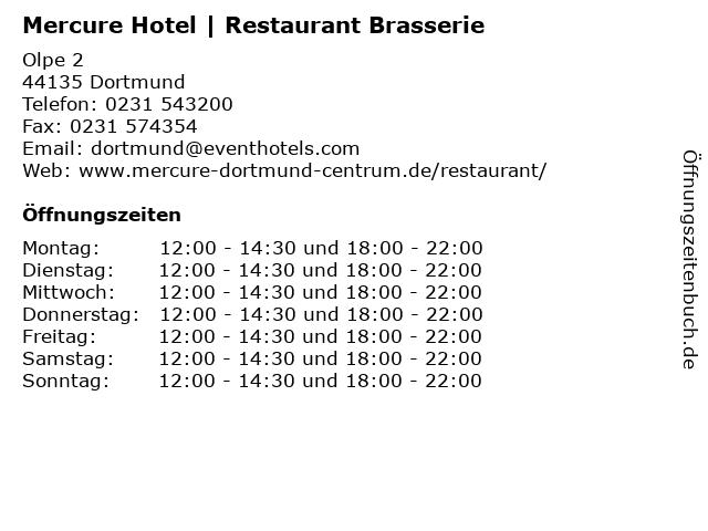 Mercure Hotel   Restaurant Brasserie in Dortmund: Adresse und Öffnungszeiten
