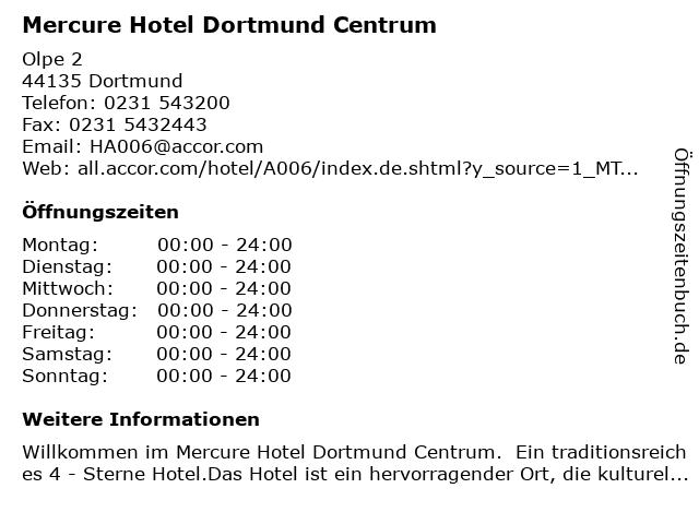 Mercure Hotel Dortmund Centrum in Dortmund: Adresse und Öffnungszeiten