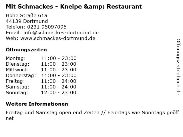 Mit Schmackes - Kneipe & Restaurant in Dortmund: Adresse und Öffnungszeiten