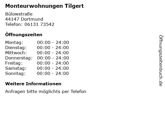 Monteurwohnungen Tilgert in Dortmund: Adresse und Öffnungszeiten