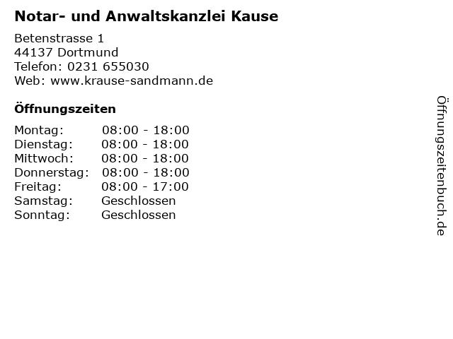 Notar- und Anwaltskanzlei Kause in Dortmund: Adresse und Öffnungszeiten