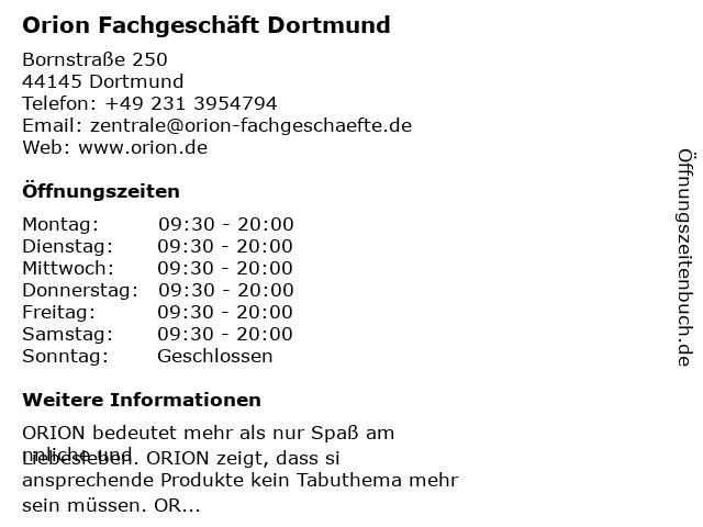 Orion Fachgeschäft Dortmund in Dortmund: Adresse und Öffnungszeiten