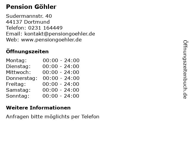 Pension Göhler in Dortmund: Adresse und Öffnungszeiten