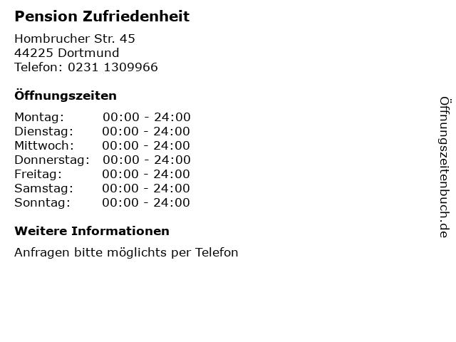 Pension Zufriedenheit in Dortmund: Adresse und Öffnungszeiten