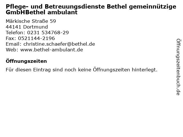Pflege- und Betreuungsdienste Bethel gemeinnützige GmbHBethel ambulant in Dortmund: Adresse und Öffnungszeiten