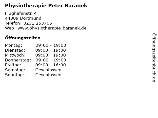 Physiotherapie Peter Baranek in Dortmund: Adresse und Öffnungszeiten