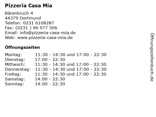 Pizzeria Casa Mia in Dortmund: Adresse und Öffnungszeiten