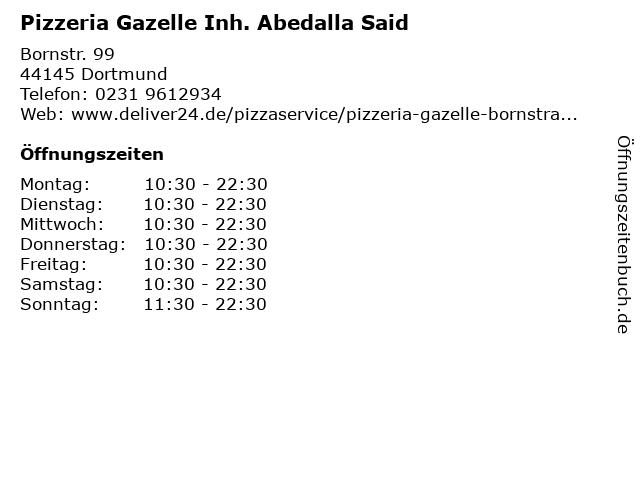 Pizzeria Gazelle Inh. Abedalla Said in Dortmund: Adresse und Öffnungszeiten
