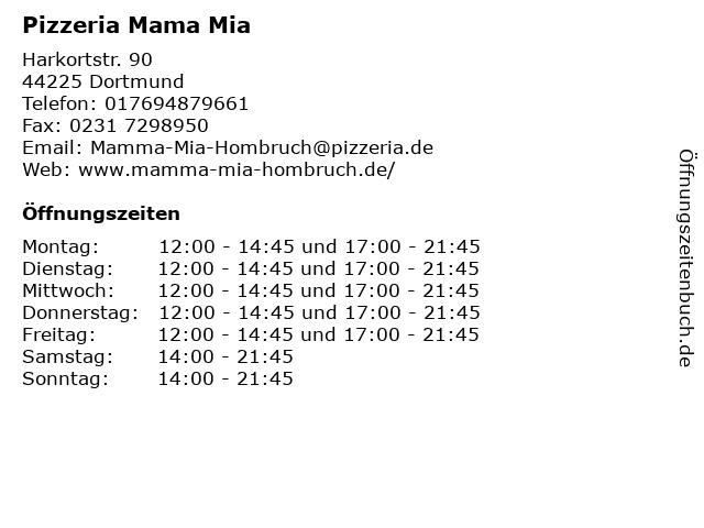 Pizzeria Mama Mia in Dortmund: Adresse und Öffnungszeiten