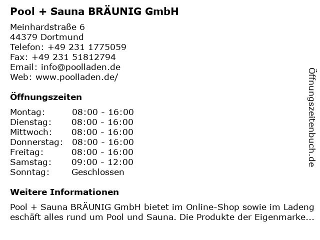 Pool + Sauna BRÄUNIG GmbH in Dortmund: Adresse und Öffnungszeiten