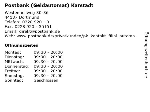 Postbank (Geldautomat) Karstadt in Dortmund: Adresse und Öffnungszeiten