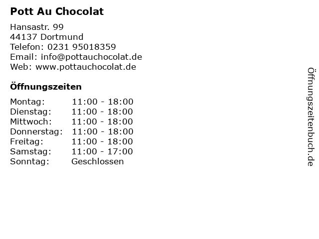 Pott Au Chocolat in Dortmund: Adresse und Öffnungszeiten