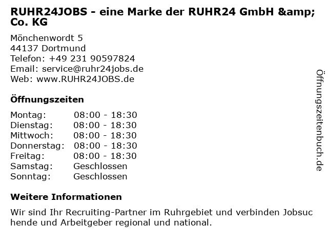 RUHR24JOBS.de - eine Marke der ruhr24 GmbH & Co. KG in Dortmund: Adresse und Öffnungszeiten