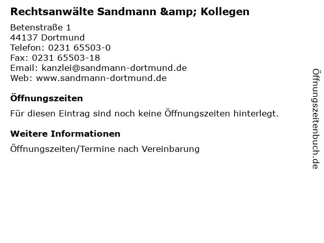 Rechtsanwälte Sandmann & Kollegen in Dortmund: Adresse und Öffnungszeiten