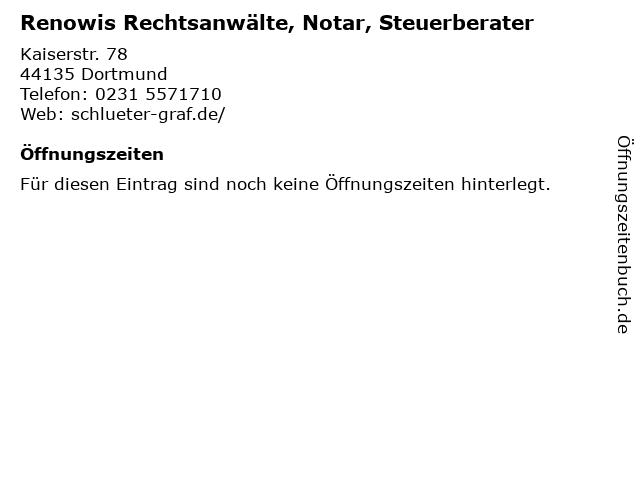 Renowis Rechtsanwälte, Notar, Steuerberater in Dortmund: Adresse und Öffnungszeiten