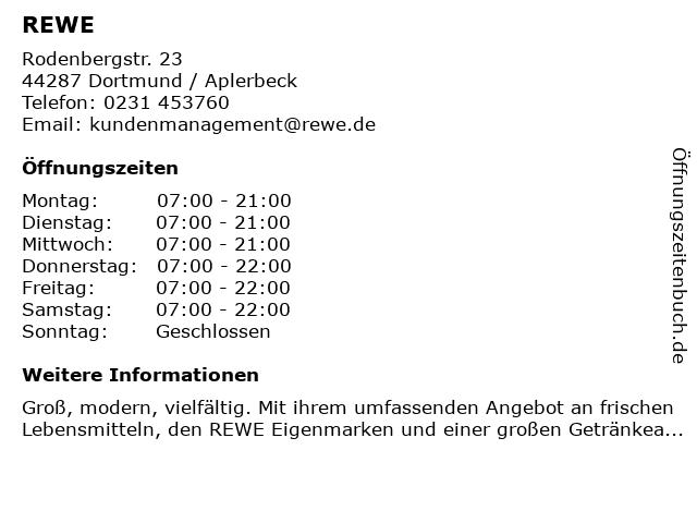 Rewe Rötten im Rodenbergcenter in Dortmund: Adresse und Öffnungszeiten