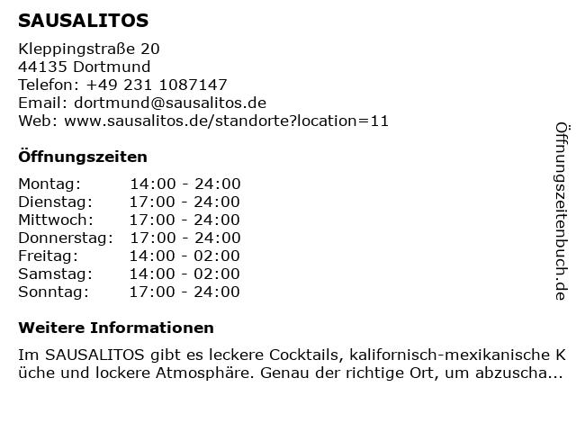SAUSALITOS in Dortmund: Adresse und Öffnungszeiten