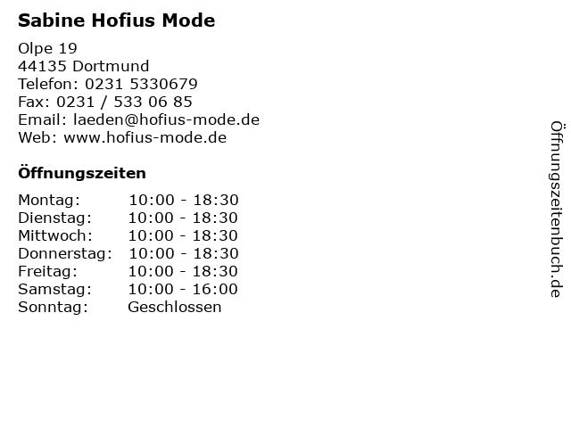 Sabine Hofius Mode in Dortmund: Adresse und Öffnungszeiten