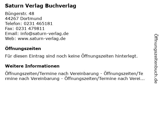 Saturn Verlag Buchverlag in Dortmund: Adresse und Öffnungszeiten
