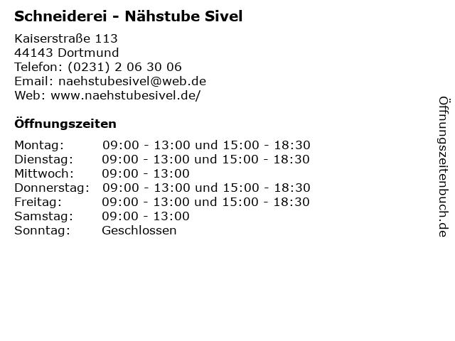 Schneiderei - Nähstube Sivel in Dortmund: Adresse und Öffnungszeiten