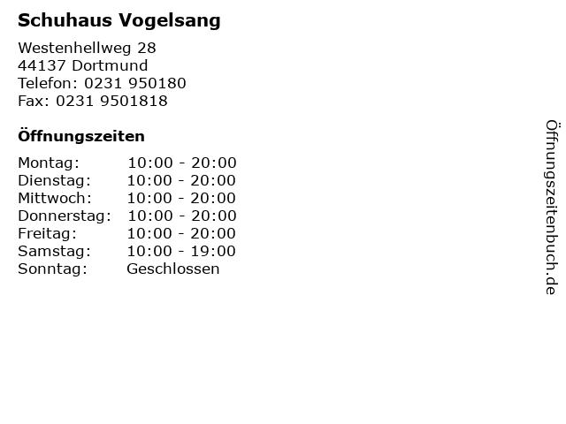 Schuhaus Vogelsang in Dortmund: Adresse und Öffnungszeiten