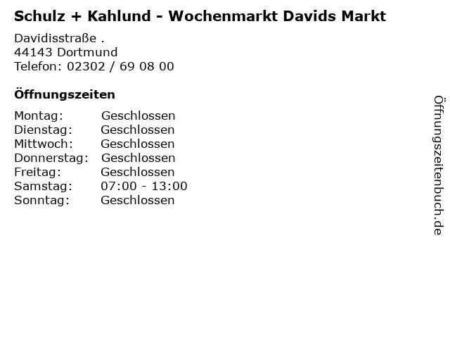 Schulz + Kahlund - Wochenmarkt Davids Markt in Dortmund: Adresse und Öffnungszeiten