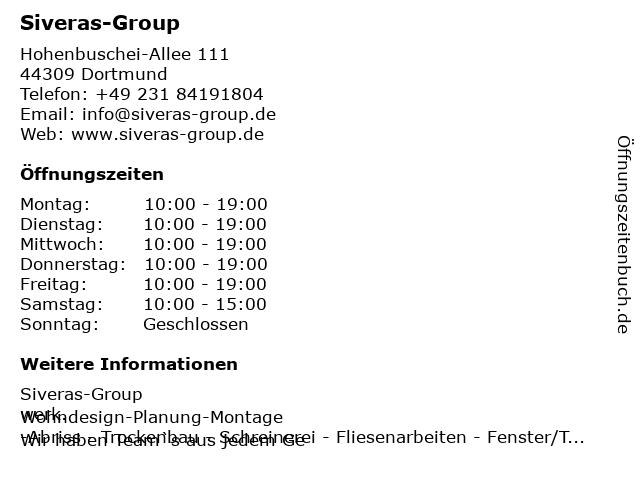 Siveras-Group in Dortmund: Adresse und Öffnungszeiten
