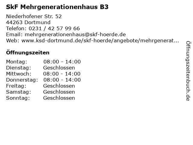 SkF Mehrgenerationenhaus B3 in Dortmund: Adresse und Öffnungszeiten