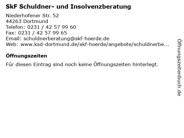 SkF Schuldner- und Insolvenzberatung in Dortmund: Adresse und Öffnungszeiten