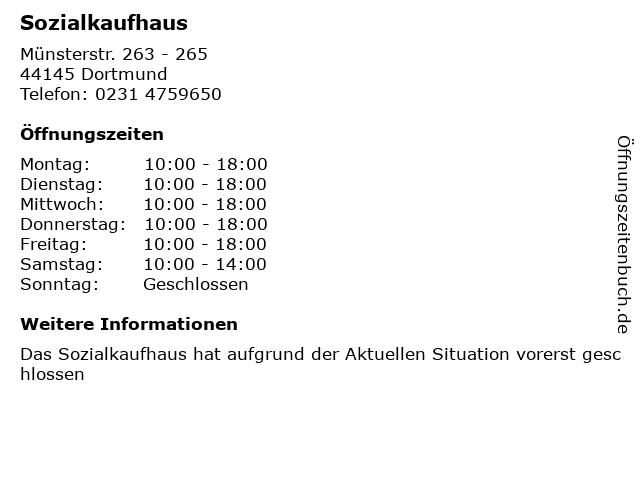 ᐅ öffnungszeiten Sozialkaufhaus Münsterstr 263 265 In Dortmund