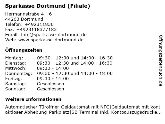 Sparkasse Dortmund - Beratungs-Center Hörde in Dortmund: Adresse und Öffnungszeiten