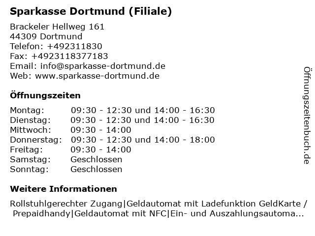 Sparkasse Dortmund - Beratungs-Center Brackel in Dortmund: Adresse und Öffnungszeiten