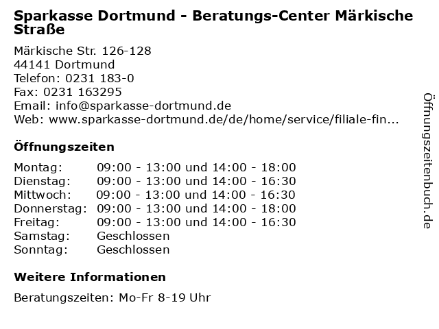 Sparkasse Dortmund - Beratungs-Center Märkische Straße in Dortmund: Adresse und Öffnungszeiten