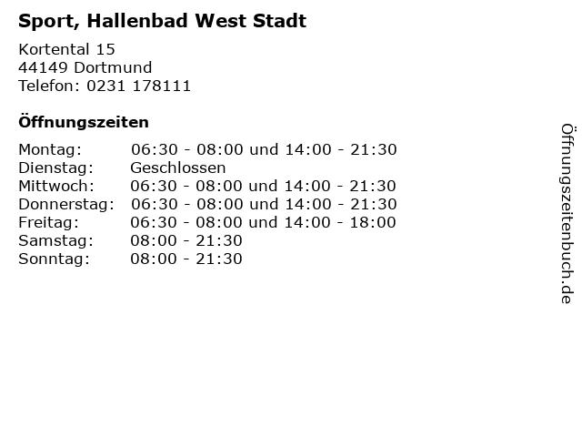 Sport, Hallenbad West Stadt in Dortmund: Adresse und Öffnungszeiten