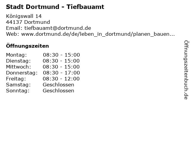 Stadt Dortmund - Tiefbauamt in Dortmund: Adresse und Öffnungszeiten