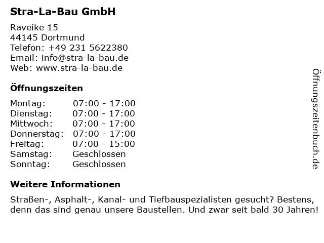 Stra-La-Bau GmbH in Dortmund: Adresse und Öffnungszeiten
