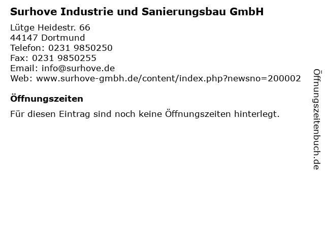 Surhove Industrie und Sanierungsbau GmbH in Dortmund: Adresse und Öffnungszeiten