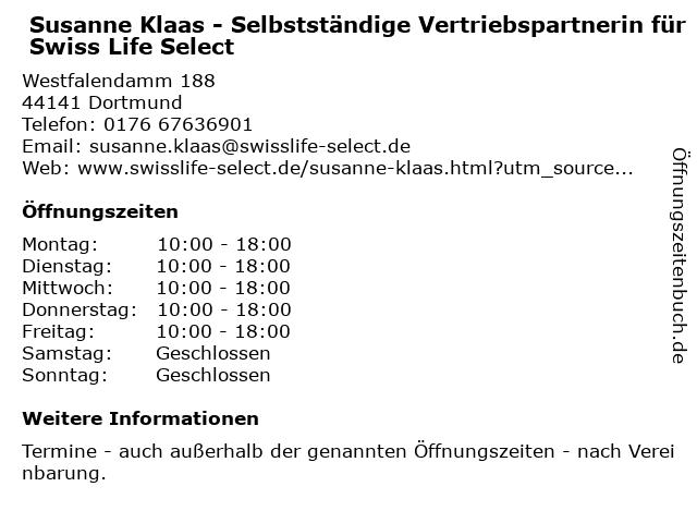 Susanne Klaas - Selbstständige Vertriebspartnerin für Swiss Life Select in Dortmund: Adresse und Öffnungszeiten