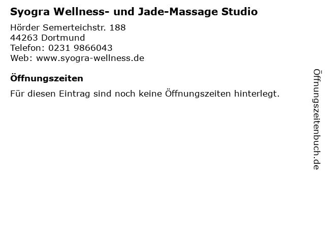 Syogra Wellness- und Jade-Massage Studio in Dortmund: Adresse und Öffnungszeiten