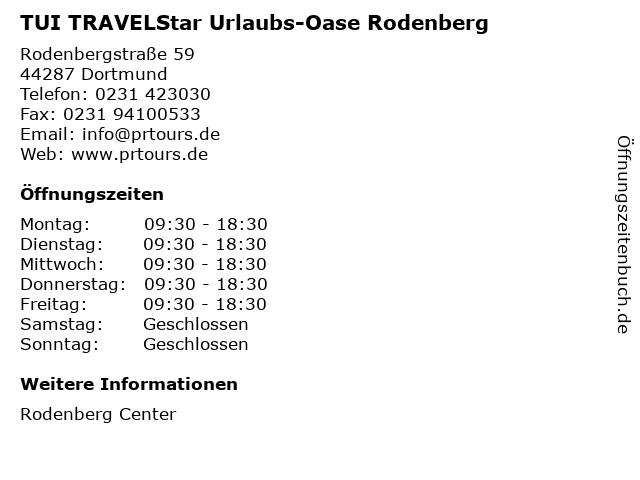 TUI TRAVELStar Urlaubs-Oase Rodenberg in Dortmund: Adresse und Öffnungszeiten