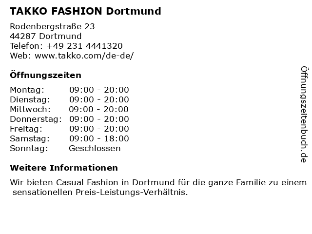 Takko Fashion in Dortmund: Adresse und Öffnungszeiten