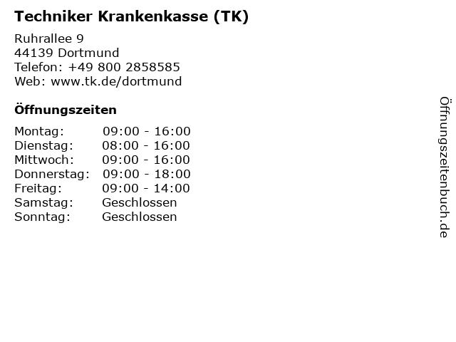 Techniker Krankenkasse (TK) in Dortmund: Adresse und Öffnungszeiten