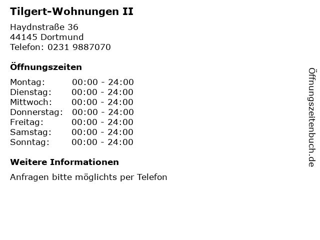 Tilgert-Wohnungen II in Dortmund: Adresse und Öffnungszeiten