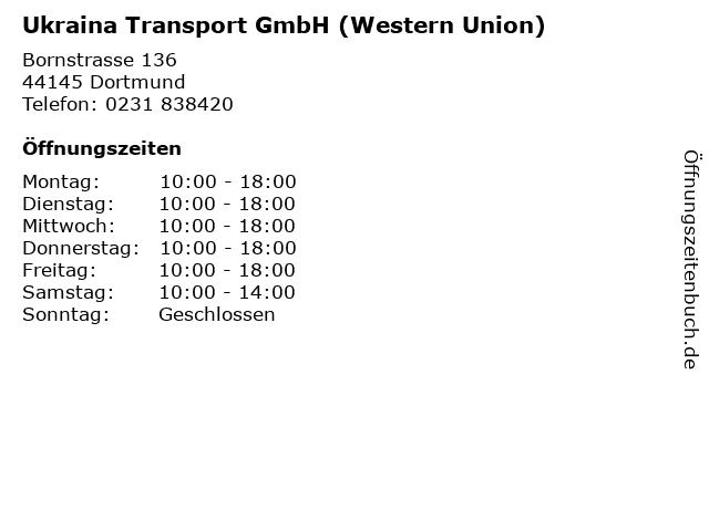 Ukraina Transport GmbH (Western Union) in Dortmund: Adresse und Öffnungszeiten
